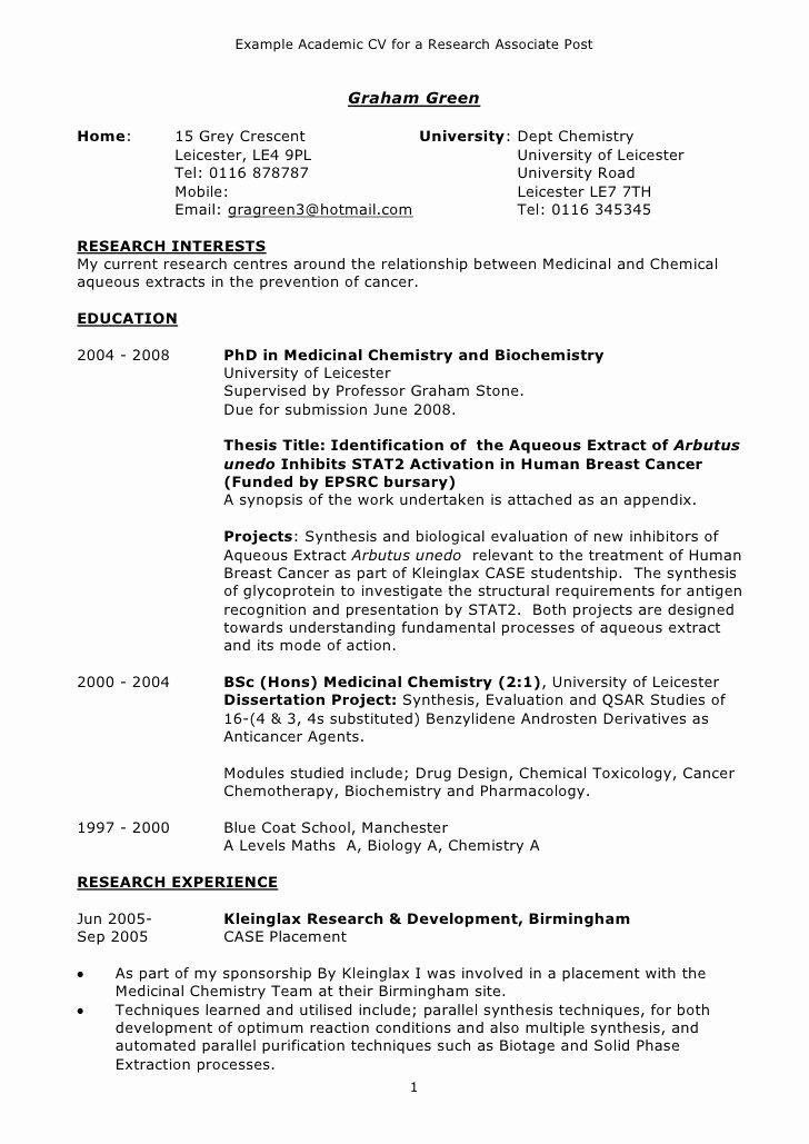 Academic Curriculum Vitae Template Fresh Example Academic Cv