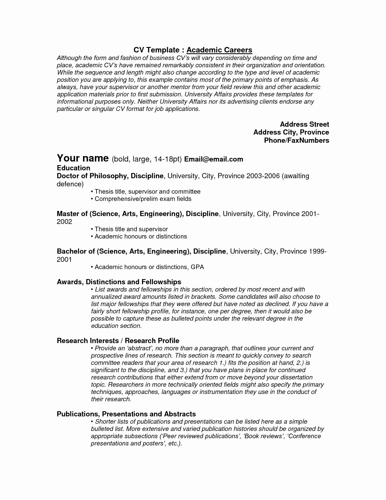 Academic Curriculum Vitae Template Inspirational Cv Templates Academic