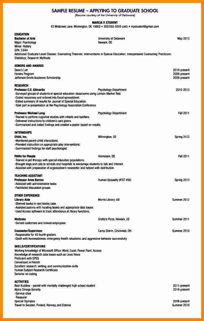 Academic Curriculum Vitae Template Lovely 6 Curriculum Vitae for Graduate School