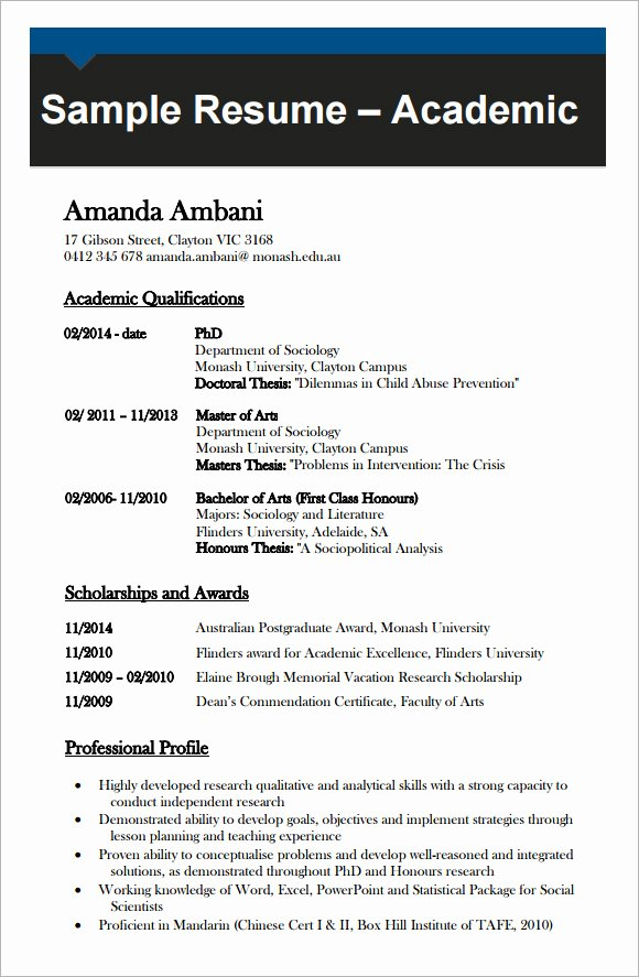 Academic Curriculum Vitae Template Lovely 9 Academic Cv Templates Download for Free