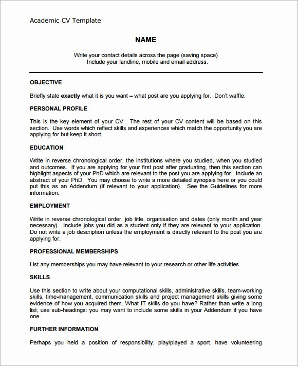 Academic Curriculum Vitae Template Luxury 9 Academic Cv Templates Download for Free