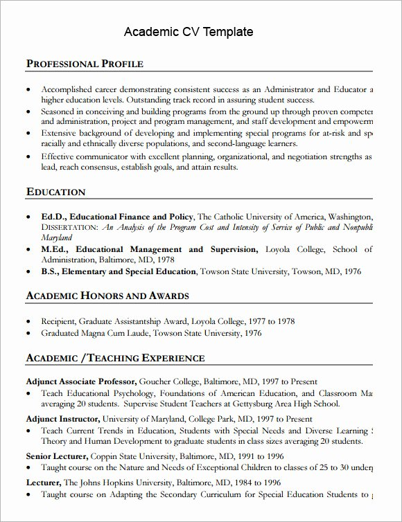 Academic Curriculum Vitae Template New 9 Academic Cv Templates Download for Free