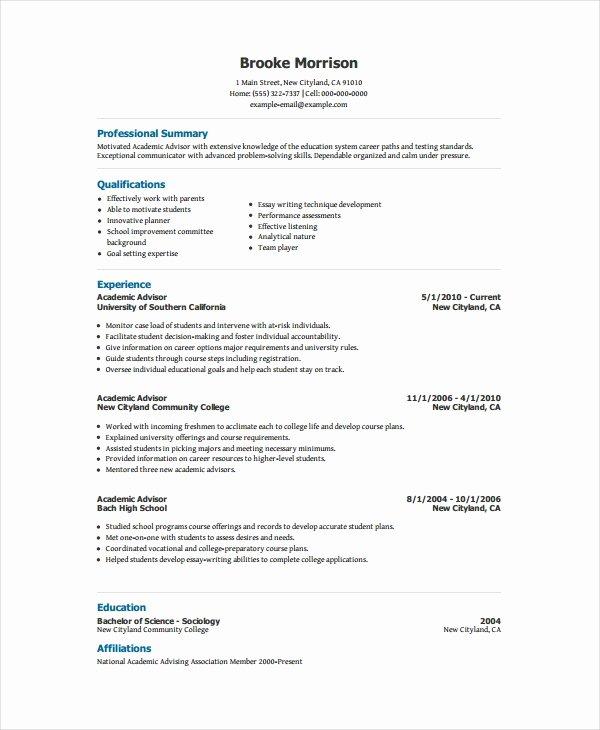 Academic Curriculum Vitae Template Unique Academic Resume Template 6 Free Word Pdf Document
