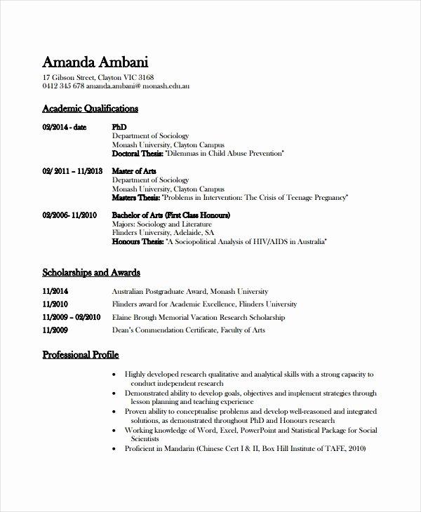 Academic Cv Template Word Inspirational Academic Resume Template 6 Free Word Pdf Document