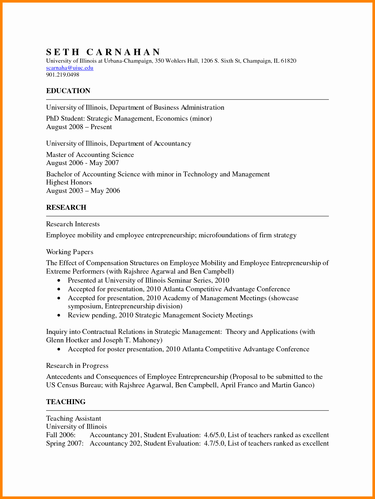Academic Cv Template Word Lovely 5 Academic Resume Template Word