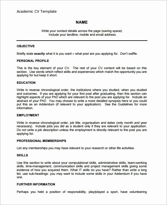Academic Cv Template Word New House Wallpapers