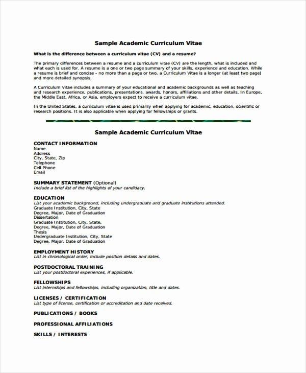 Academic Cv Template Word Unique 11 Academic Curriculum Vitae Templates Pdf Doc
