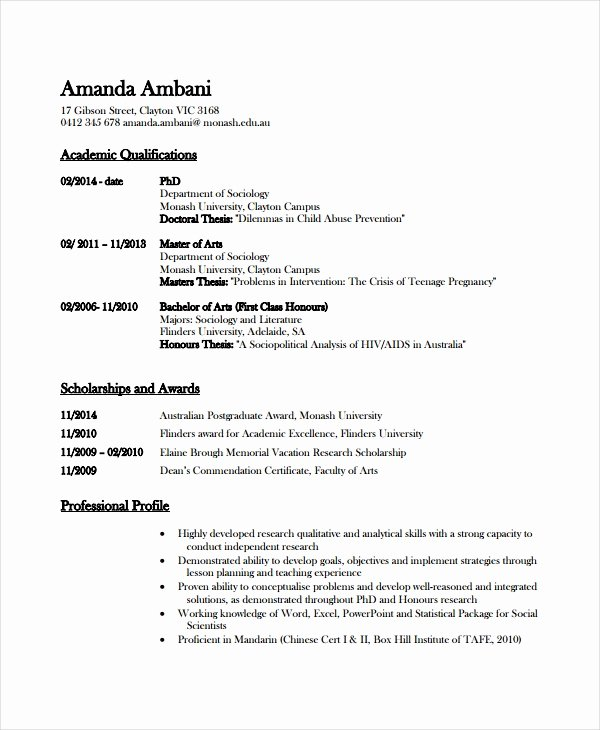 Academic Resume Template Word Awesome Academic Resume Template 6 Free Word Pdf Document