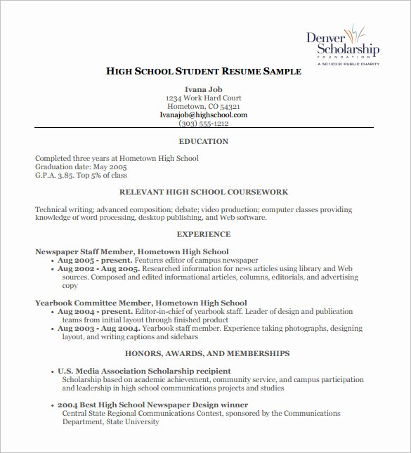 Academic Resume Template Word Awesome High School Resume Template 9 Free Word Excel Pdf