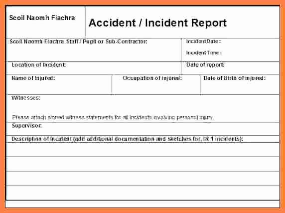 Accident Report form Template Fresh 3 Workplace Incident Report form Template