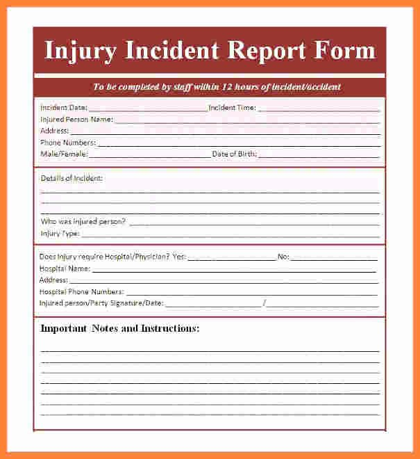 Accident Report form Template Luxury 9 Incident and Accident Report form Template