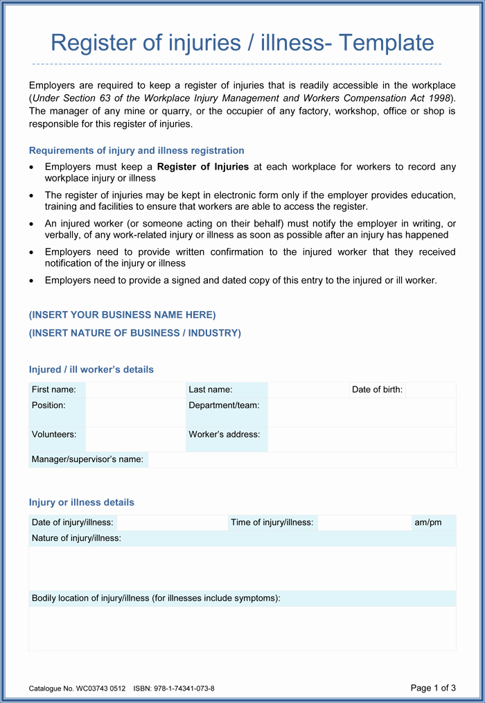 Accident Report form Template New 5 Sample Injury form Templates to Create An Injury Report
