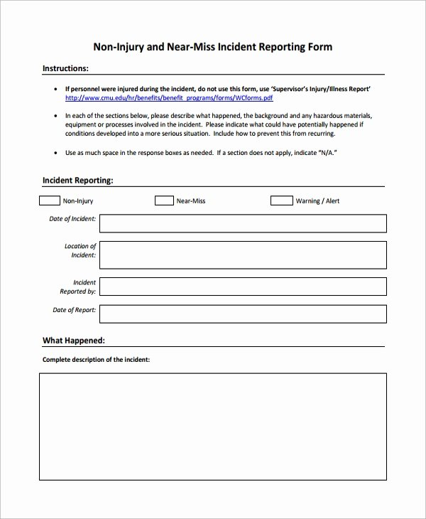 Accident Report form Template New Sample Incident Reporting form 9 Free Documents