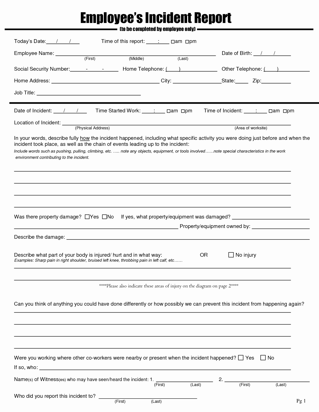 Accident Report form Template Unique Best S Of Employee Injury Incident Report Employee