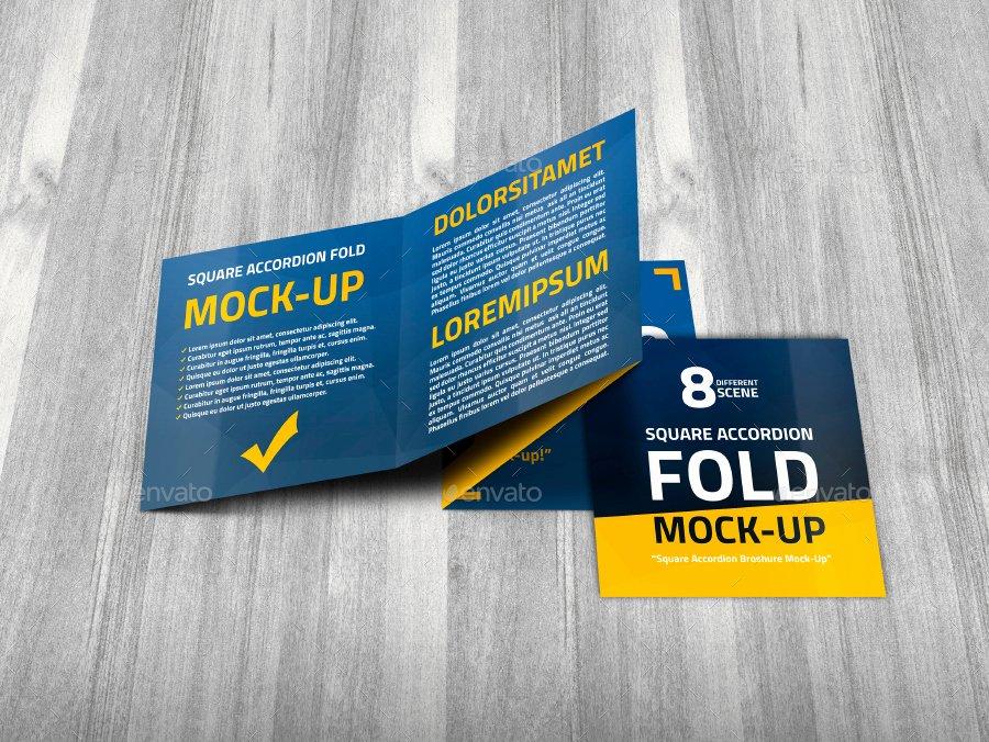 Accordion Fold Brochure Template Unique Square Accordion Fold Brochure Mock Up by Trgyon