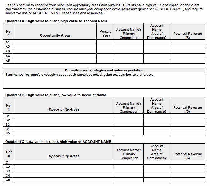 Account Management Plan Template Best Of Go to Market Strategy Strategic Account Plan Template