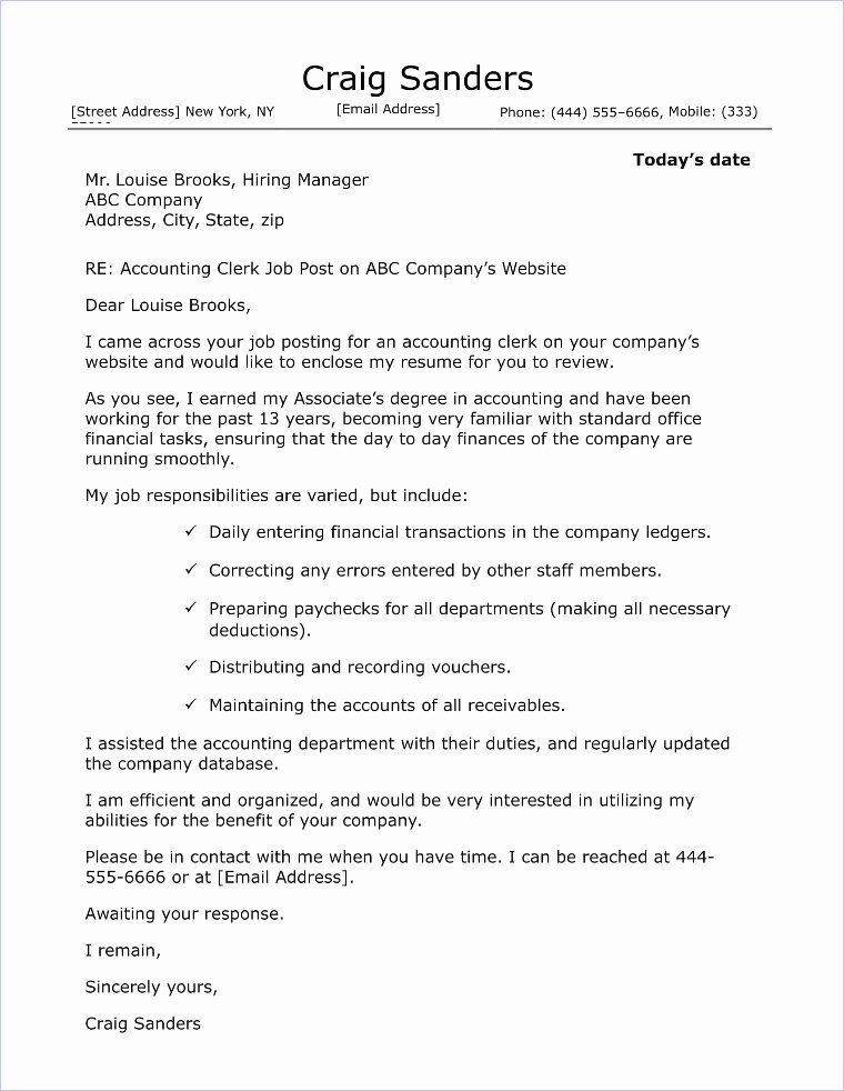 Accounting Cover Letter Template Fresh Hr assistant Cover Letter Sample
