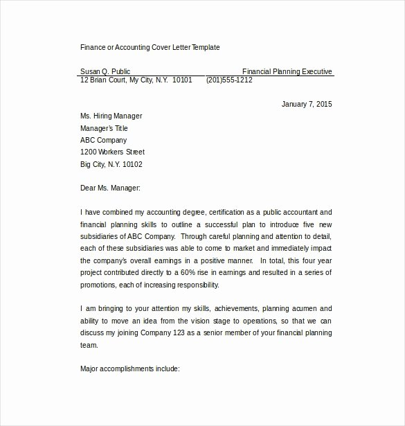 Accounting Cover Letter Template Luxury 7 Employment Cover Letter Templates Free Sample