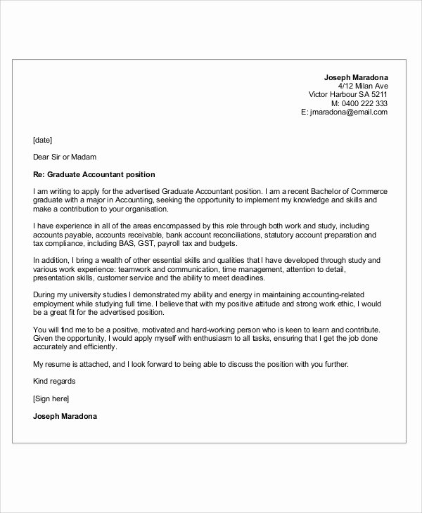Accounting Cover Letter Template Unique 12 Accounting Cover Letters Free Sample Example format