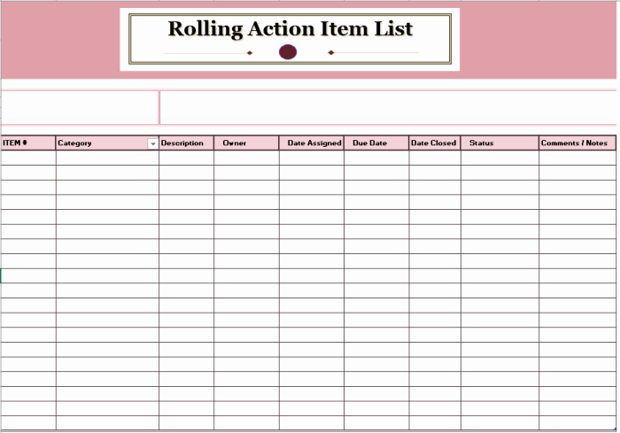 Action Item Template Word Awesome 15 Free Rolling Action Item List Templates Ms Fice