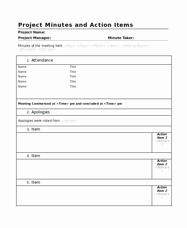 agenda action item template word list
