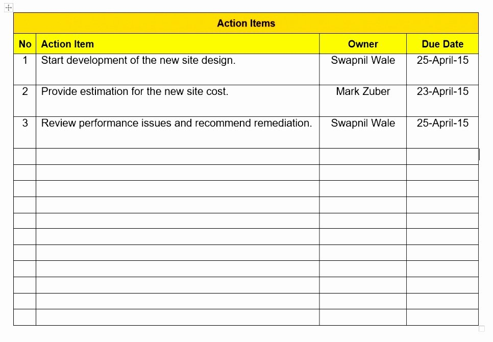 Action Item Template Word Elegant 10 Action Items Template Excel atpto