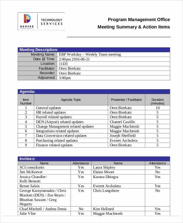 Action Item Template Word Fresh Action Agenda Templates 7 Free Word Pdf format Download