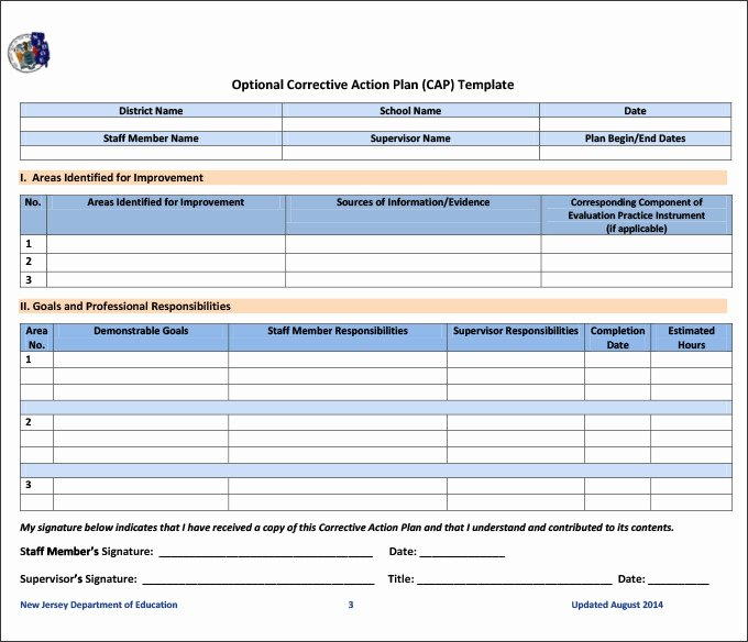 Action Plan Template Education Elegant Corrective Action Plan Template 25 Free Word Excel Pdf
