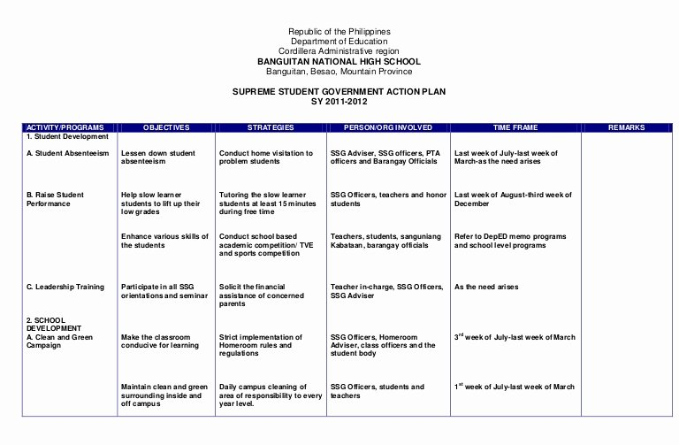 Action Plan Template Education Lovely Action Plan Ssg