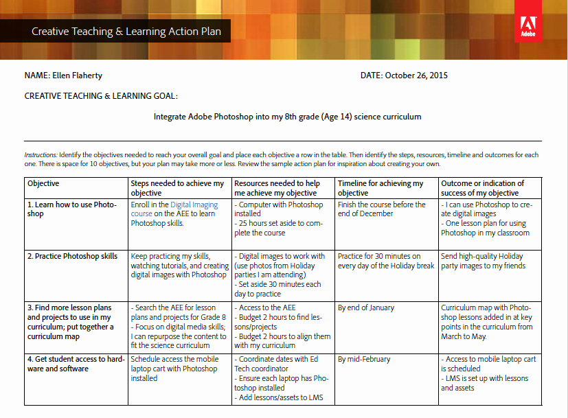 Action Plan Template Education Unique Creative Teaching & Learning Action Plan Template and