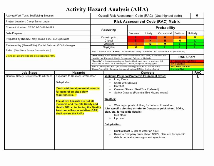 Activity Hazard Analysis Template Unique Aha Sample Scaffolding