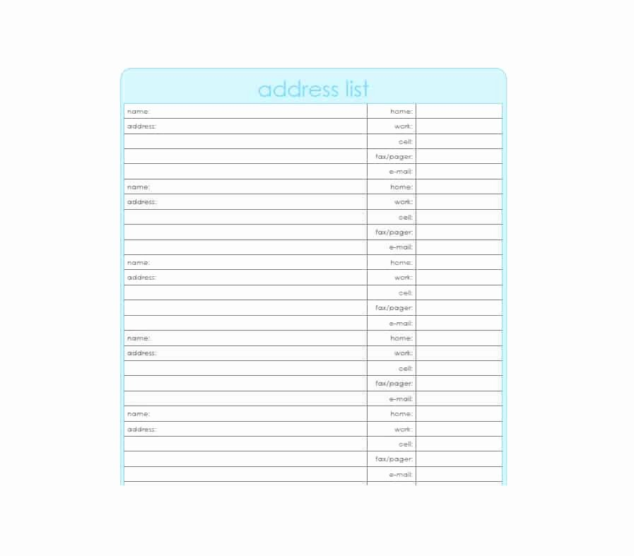 Address Book Template Excel Awesome 40 Printable & Editable Address Book Templates [ Free]