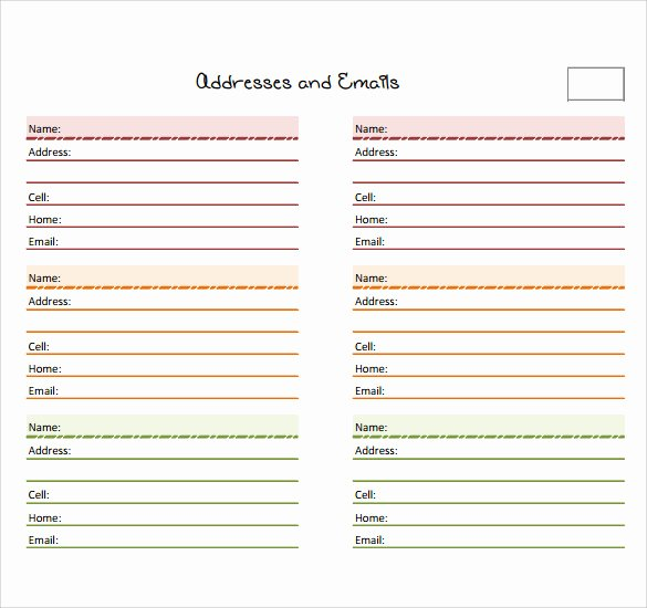 Address Book Template Excel Awesome Sample Address Book Template 9 Documents In Pdf Word Psd