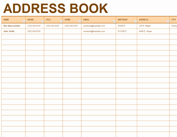Address Book Template Excel Beautiful Address Book