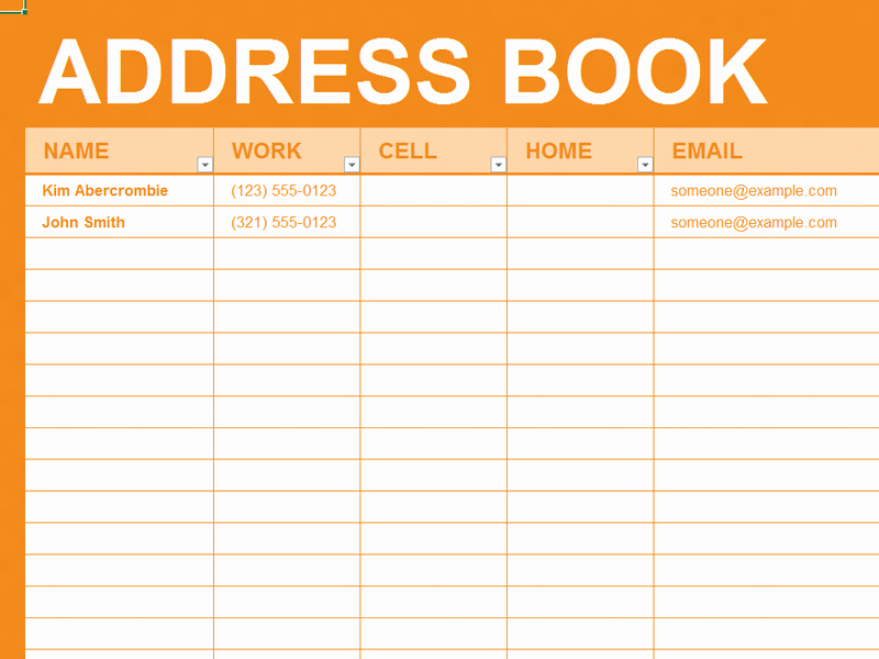 Address Book Template Excel Beautiful Free Excel Template Personal Address Book