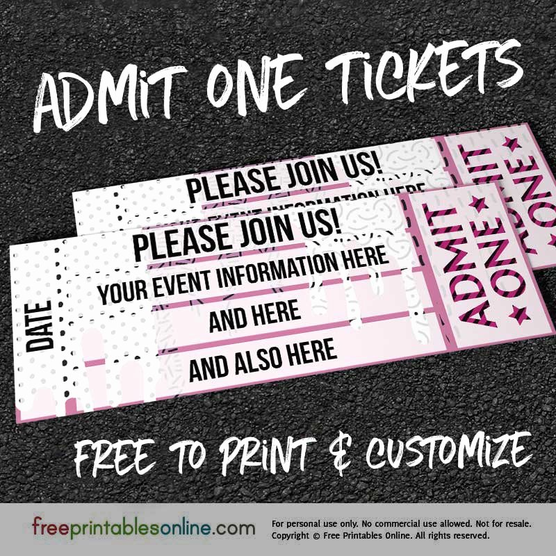 Admit One Ticket Template Awesome Drip Drop Admit E Ticket Template