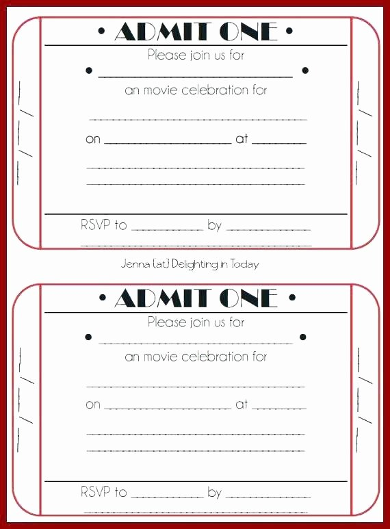 Admit One Ticket Template Awesome Free Printable event Ticket Templates Admit E Invitation