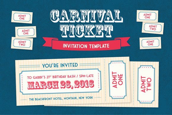 Admit One Ticket Template Fresh Admit E Carnival Ticket Template Designtube Creative