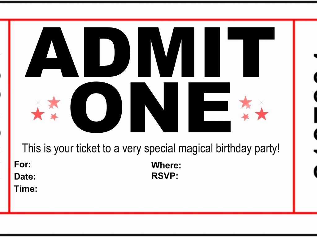 Admit One Ticket Template Fresh Admit E Ticket Invitation Cobypic