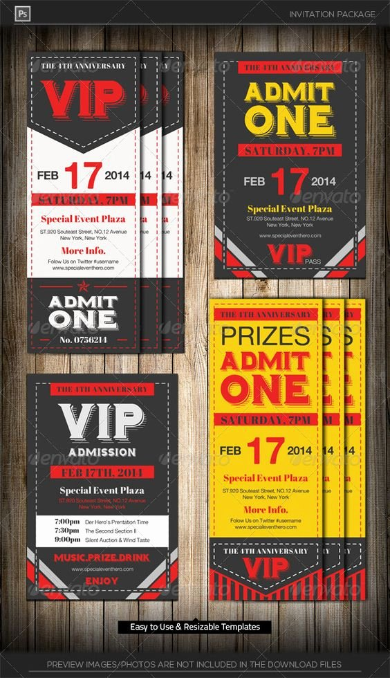 Admit One Ticket Template Inspirational Admit E Vip Ticket Invitation Template