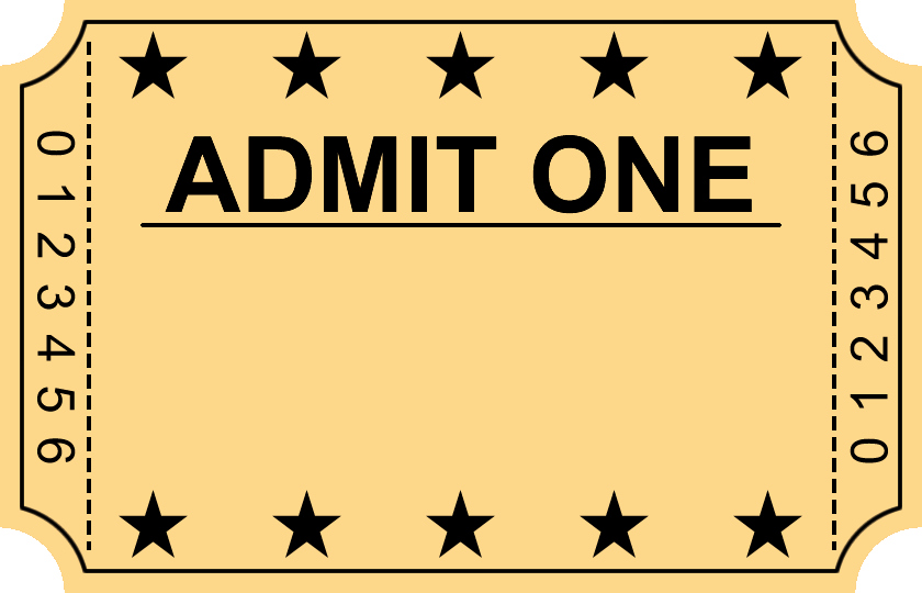 Admit One Ticket Template Luxury Entry Ticket Clipart Clipground