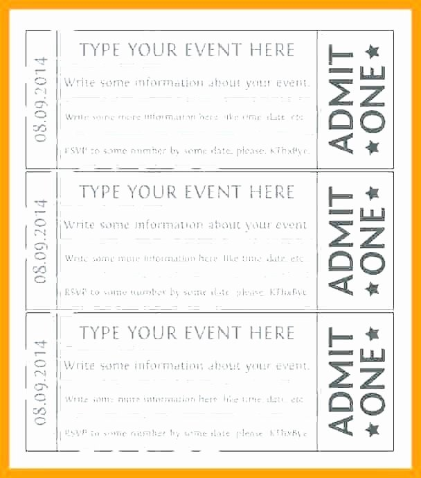 Admit One Ticket Template Unique Admit E Template Word Raffle Ticket Templates Word
