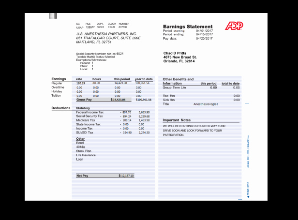 Adp Earnings Statement Template Awesome Paycheck Stubs Set Adp