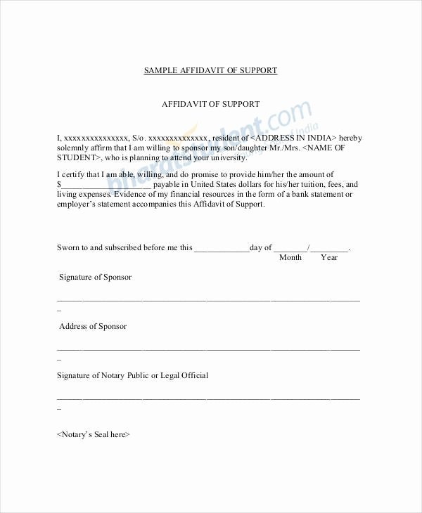 Affidavit Of Support Template Awesome 22 Letter Of Support Samples Pdf Doc