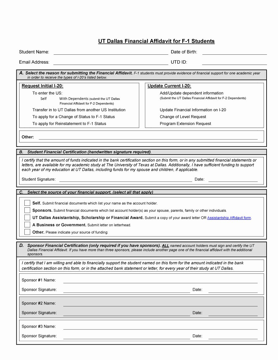 Affidavit Of Support Template Awesome 48 Sample Affidavit forms & Templates Affidavit Of