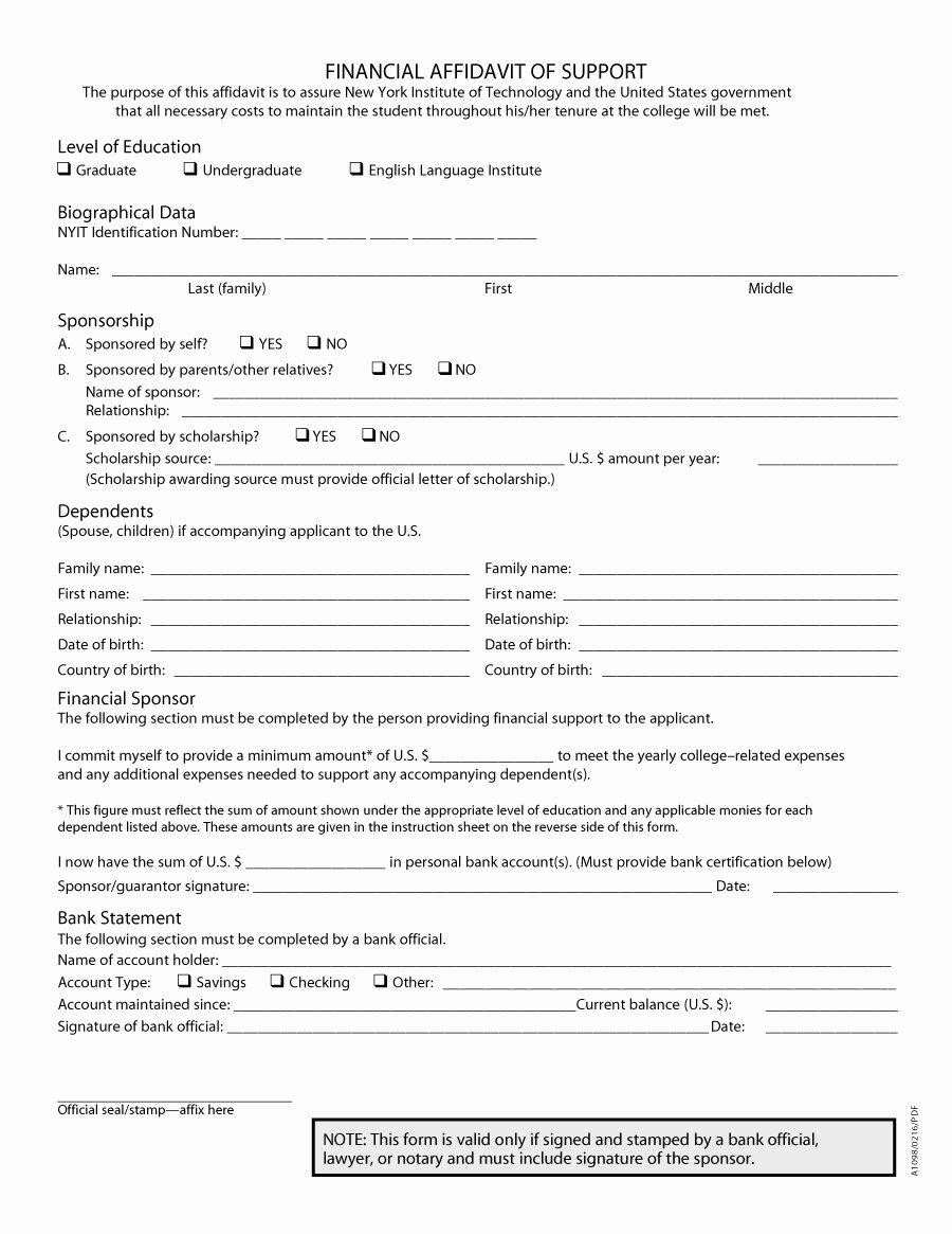 Affidavit Of Support Template Beautiful 48 Sample Affidavit forms & Templates Affidavit Of