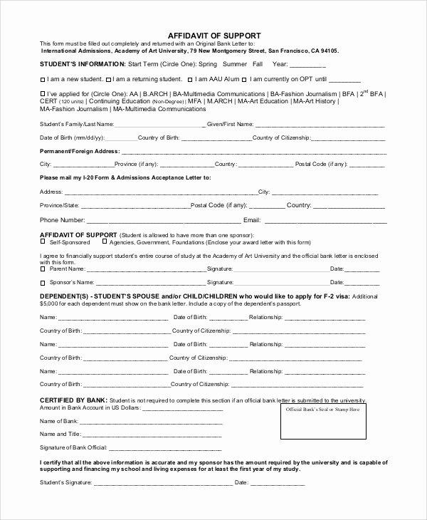 Affidavit Of Support Template Elegant 9 Sample Affidavit Of Support forms