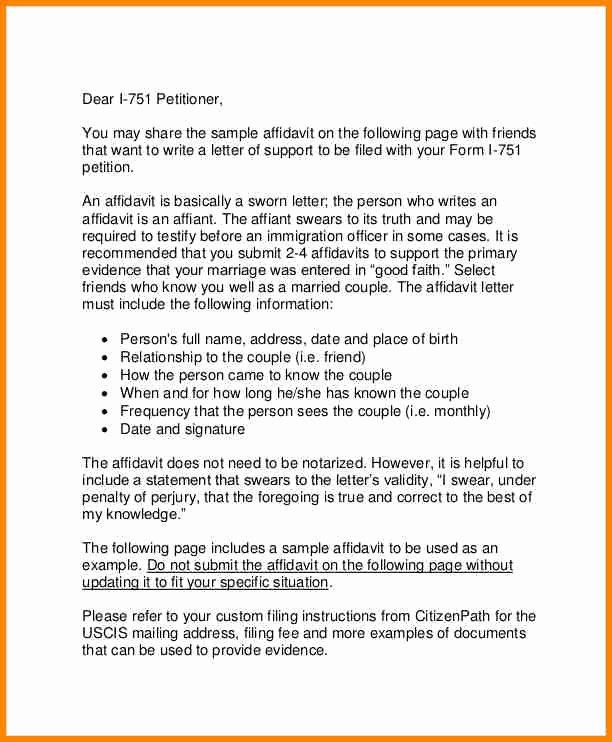 Affidavit Of Support Template Fresh 11 Example Of Affidavit Letter for Immigration