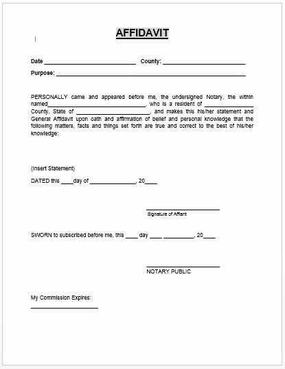 Affidavit Of Support Template Inspirational Affidavit form Microsoft Word Templates