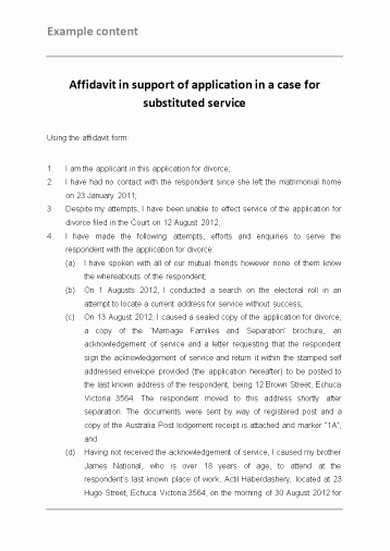 Affidavit Of Support Template Inspirational Example Affidavit In Support Of Application In A Case